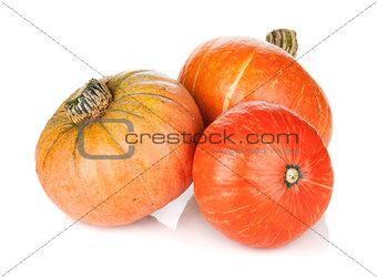 Three ripe small pumpkins