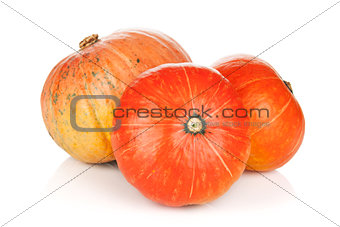 Three ripe small pumpkins