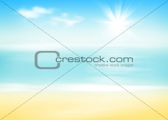 Beach and sea with sunny sky