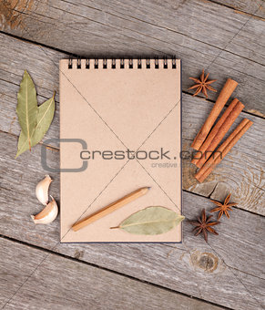 Blank notepad on wooden table