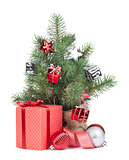 Small christmas tree with decor and gift box