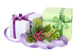 Christmas gift boxes, decor and tree