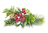 Christmas tree branch with holly decor