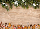 Christmas fir tree and gingerbread cookies