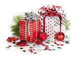 Two gift boxes and christmas decor
