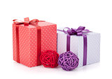 Colorful gift boxes with ribbon and bow and christmas decor