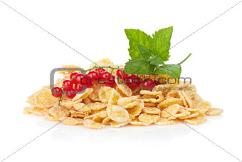 Fresh corn flakes heap with berries