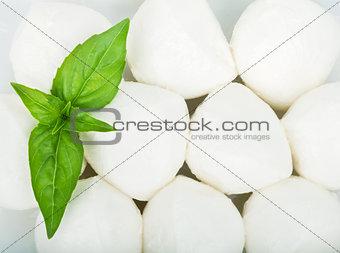 Small pieces of mozzarella and basil