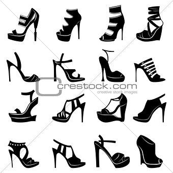 Sixteen various stylish models of women footwear