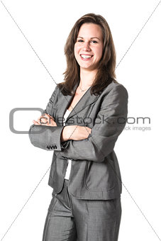 Business woman in grey suit