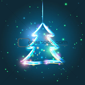 Glowing Christmas tree vector illustration