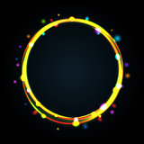 Multicolor glowing circle frame with sparkles