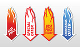 Special offer flaming arrow symbols.