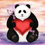 Panda with a heart-shaped pillow