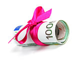 euro money roll gift with pink ribbon