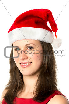 Portrait Smiling Santa Woman