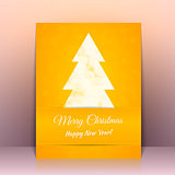 Yellow Greeting card background with Christmas tree