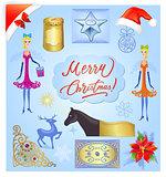 Christmas elements illustration set