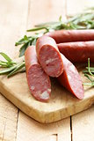 Dried sausage with  fresh rosemary