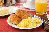 Croissants andd scrambled eggs