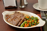 Roast beef and mixed vegetables