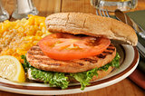 Salmon burger closeup