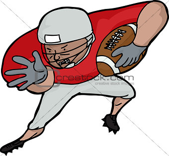 American Football Player Charging