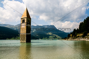 FLOODED BELL TOWER IN RESIA LAKE