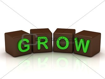 GROW inscription bright green letters