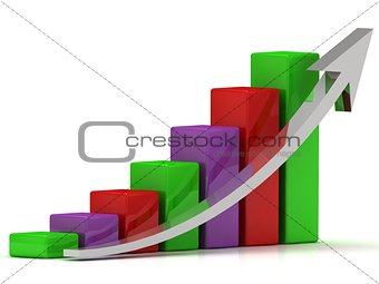 Business growth chart of the color bars and a silver arrow