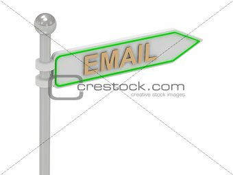 "3d rendering of sign with gold ""EMAIL"""