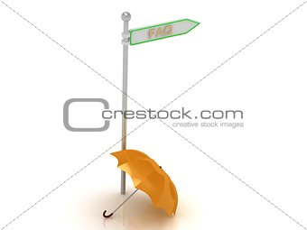"3d rendering of sign with gold ""FAQ"" and orange umbrella"