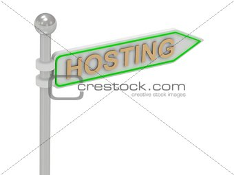 "3d rendering of sign with gold ""HOSTING"""