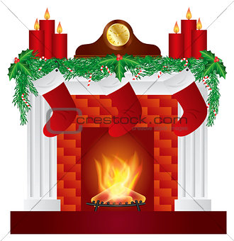 Fireplace with Christmas Decoration Illustration
