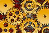 Gold Gears on Grunge Texture Background
