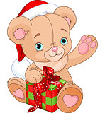 Christmas Teddy Bear holding gift