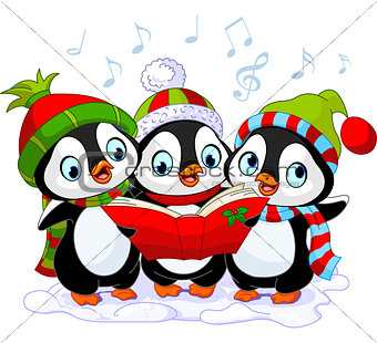 Christmas carolers penguins