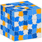 Puzzle cube. Illustration for your business presentation.