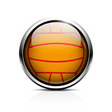 Icon Ball for water polo. Glass shiny button to play ball in water polo