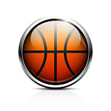 Icon basketball. Glass shiny button basketball