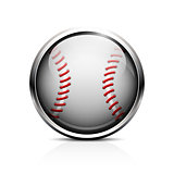 Icon of baseball. Glass shiny button for the game of baseball