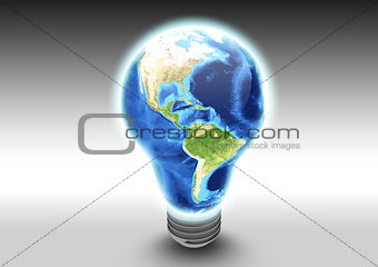 America Earth Light Bulb