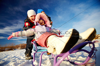 Riding on sledge