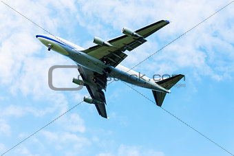 airplane flying at blue sky