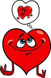 heart in love cartoon illustration