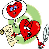 heart reading love poem cartoon