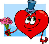 valentine heart with flowers cartoon