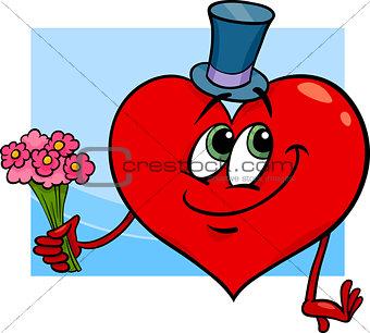 valentine heart with flowers cartoon