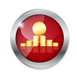 Money gold coins  button vector illustration