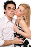 Portrait of passionate beautiful young couple. Isolated